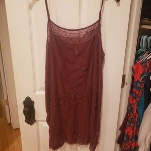 Free people- Maroon gypsy chic beaded top/dress.